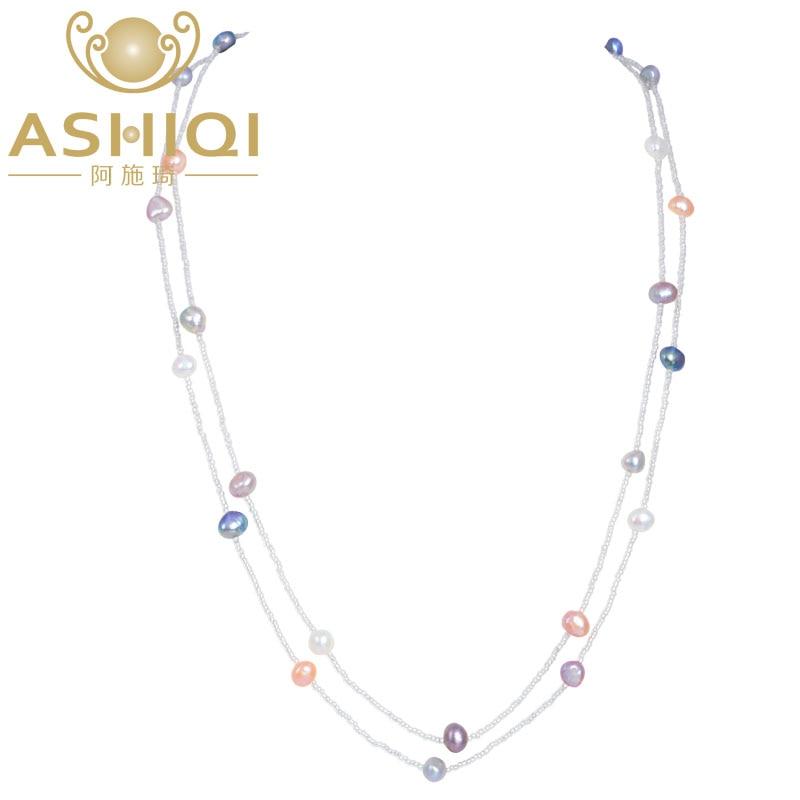 ASHIQI 120 cm Long Baroque Perle D'eau Douce Collier 925 fermoir en argent sterling Blanc cristal perles Bijoux pour femmes