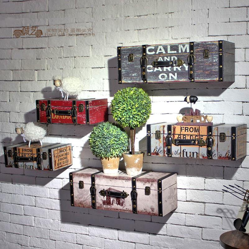 American retro simulation luggage suitcase creative cafe for Decoration murale wish