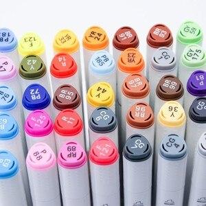 Image 5 - Art marqueur ensemble huileux à base dalcool croquis marqueurs pinceau stylo pour 30/40/60/80/168 couleurs artiste dessin Manga Animation Art fournitures