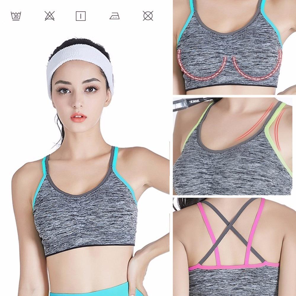 New Women Cross Design Sports Bra Push Up Shockproof Vest Tops with Padding for Running Vest Gym Fitness Jogging Yoga Shirt