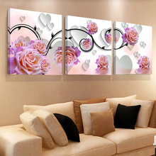 ФОТО No Frame 3 Panels Modern Stereoscopic Rose Flower Painting On Canvas Wall Art Cuadros Picture Home Decor  Living Room HY01