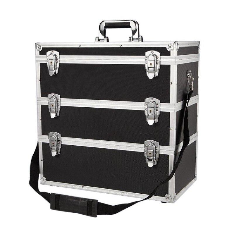 Boîte à outils multi-couche combinaison boîte à outils de stockage portable multi-fonction matériel grande capacité réparation boîte de voiture en alliage d'aluminium