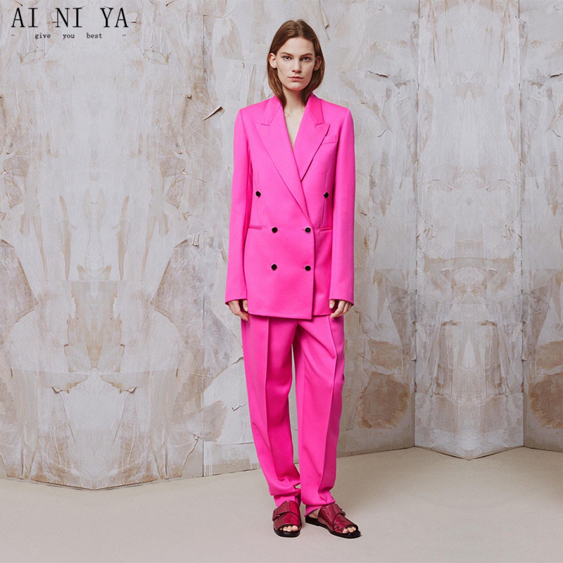 Pink Womens Business Suits Formal female Office Work Wear 2 Piece Sets Double Breasted Slim Uniform Designs Blazer Custom Made