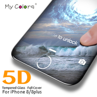 My Colors 5D Curved Edge Full Cover Tempered Glass For iPhone 8 Screen Protector 9H Hardness iphone 8 plus glass HD Film
