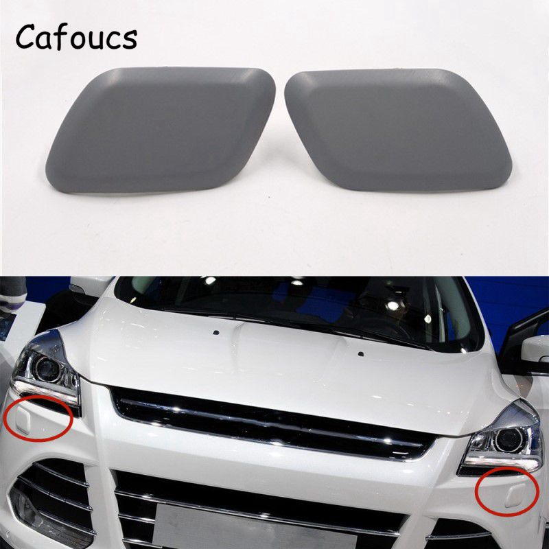 Cafoucs For Ford Escape Kuga 2013-2016 Car Front Bumper Headlight Washer Nozzle Cover Decoration Spray Jet Cap