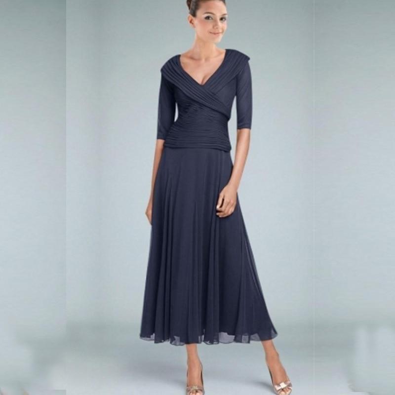 Dark navy tea length mother of the bride dresses with for V neck tea length wedding dress