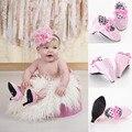 Nueva Moda 2016 Venta Caliente Infant Toddler Cuna Bebé Recién Nacido bebé Arco Princesa de Las Muchachas Vestido del Ballet de Mary Jane Zapatos de Alta tacones