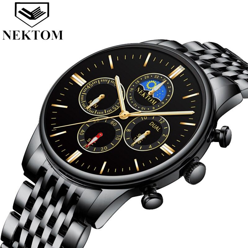 NEKTOM Relogio Masculino Relojes 2019 Rose Gold Watch Mens Watches Top Brand Luxury Sport Quartz Watch