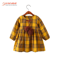 DOSOMA Girls Dress Autumn&Winter Brand Girls Clothes England Plaid Fur Ball Bow New Design Baby Girls Dress Clothes For 3-8Y