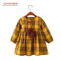 DOSOMA Girls Dress Autumn Winter Brand Girls Clothes England Plaid Fur Ball Bow New Design Baby