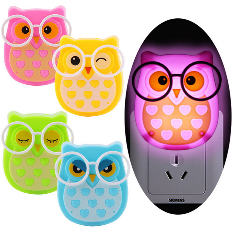 LED Owl Night Light Soft Auto Light Control Sensor Lamp Children Kids Baby Romantic Colorful Decoration Battery Projection Lamp