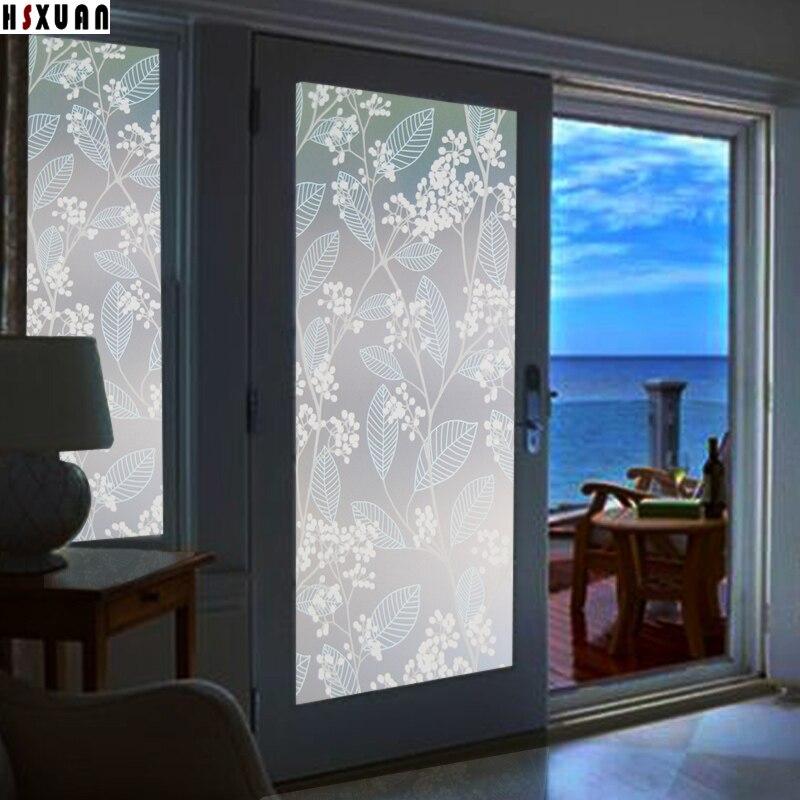 Amazing Sliding Door Glass Window Film 70x100cm Flower Fruit Tree Living Room  Decoration Frosted Pvc Window Stickers