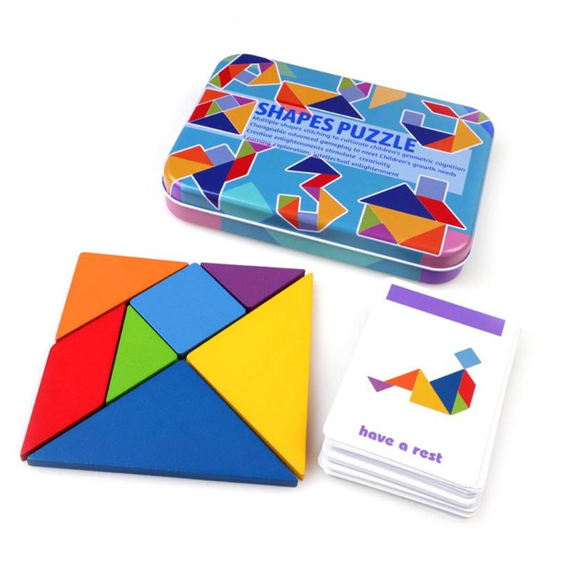 7pcs/9pcs Wooden Tangram Jigsaw Toys Training Puzzle Cognitive Children Early Education Puzzle Toy With 50/60 Cards Box