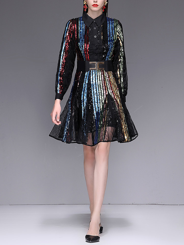 65339e431c 2019 Spring Sequin Bling Bling Slash Dress Rainbow Hologram Glitter High  Street Runway Dresses A line A Shape Long Seeve