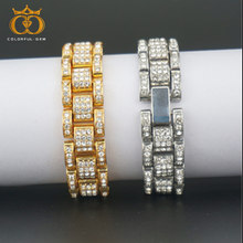 Fashion Gold Color Plated Micro Pave Alloy Bracelet All Iced Out 8inch Length Cuban Chain Hip Hop Jewelry For Male