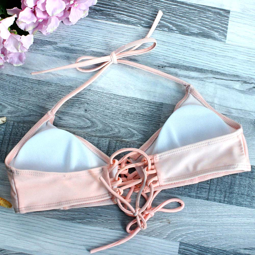 2018 Sexy Pink Brazilian Bikini Set Women Halter Top Bathing Suit Summer Beachwear Bandage Swimwear Biquinis Maillot De Bain 3