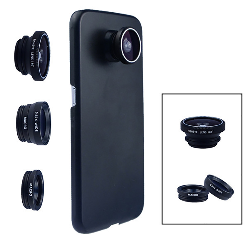 Phone Camera Lens 180 Fish eye Wide Macro With Case Cover For Samsung Galaxy s8 plus s6 edge S5 note 3 in 1 mini es kit image