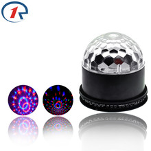 ZjRight Mini LED 6color Stage lights laser projector LED rotated base voice-activated led crystal magic ball light Disco light