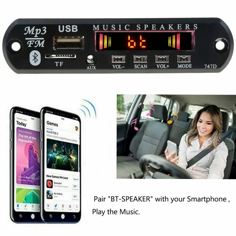 Car MP3 Players WMA Decoder Board Wireless Bluetooth Radio Module USB TF FM AUX for Accessories Speaker