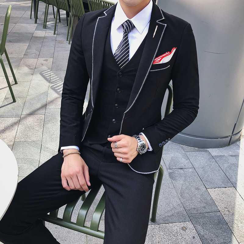 3PC High Quality Business Men Suit Brand New Slim Fit Solid Formal Wear Dress Suits Mens Autumn Winter Wedding Tuxedo Groom 2XL