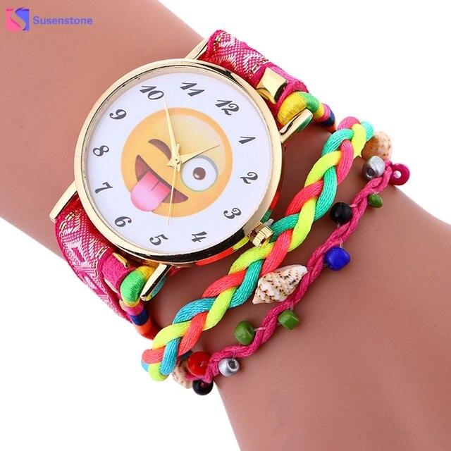 2018 Cute Emoji Nylon Weave Bracelet Watch Women Lady Quartz Analog Wristwatch V