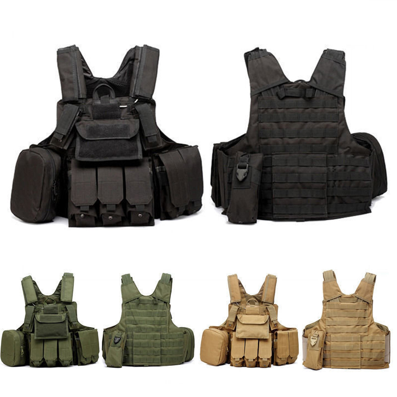 Фотография Military Molle Waistcoat Combat Assault Plate Carrier Vest Hunting Protection Vest CS Camouflage Paintball Hunting W/Mag Pouch