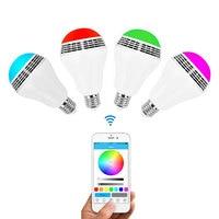 DVOLADOR Smart E27 LED RGB Light Music Bulb Audio Speakers Lamp Dimmable Speaker Color Via WiFi