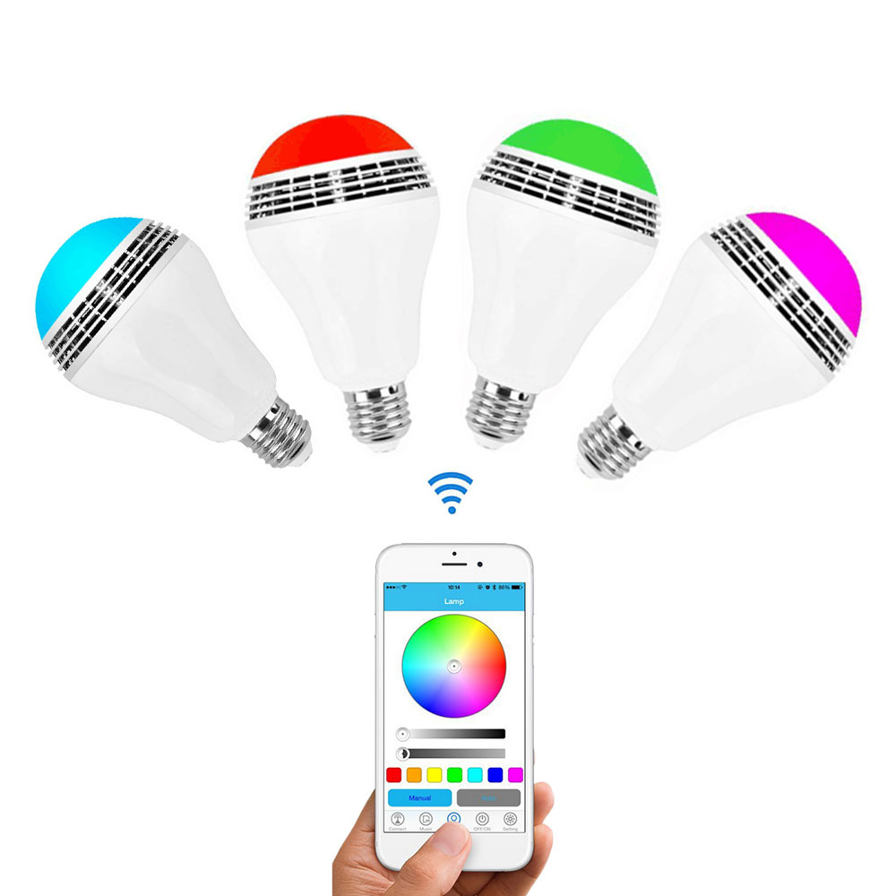DVOLADOR Smart E27 LED RGB Light Music Bulb Audio Speakers Lamp Dimmable Speaker color via WiFi App Control,1 APP Control Group sleepace nox 1 smart music sleep light support app
