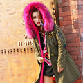 BringBring 2016 Winter Army Green Coat for Women with Nature Fur Hooded Sequins and Tassel Slim Jackets and Coats Warm Outwear