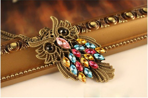 Colourful Crystal Owl Alloy Necklace