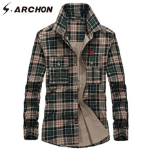 hot deal buy s.archon spring plaid shirts men cotton long sleeve shirts / casual streetwear autumn shirts tactical clothing male large size