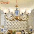 Einfache Kupfer Kronleuchter Leuchte Keramik Wohnzimmer Lampe Schlafzimmer Esszimmer Anhänger Lampe Retro Amerikanischen Kreative Beleuchtung