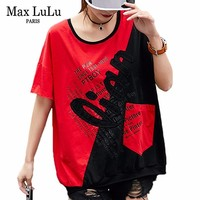 Max LuLu Fashion Luxury Korean Clothes Ladies Summer Vintage Tops Womens Patchwork Oversized Tshirt Embroidery Casual Tee Shirts