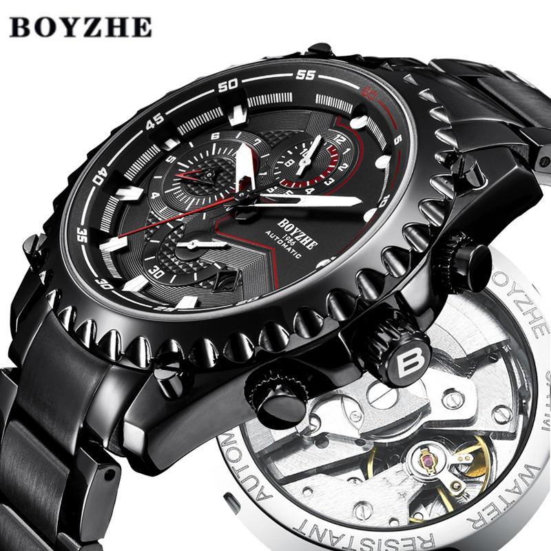 BOYZHE Men Automatic Mechanical Watch Business Luxury Brand Watch Men Stainless Steel Waterproof Sport Watches Relogio