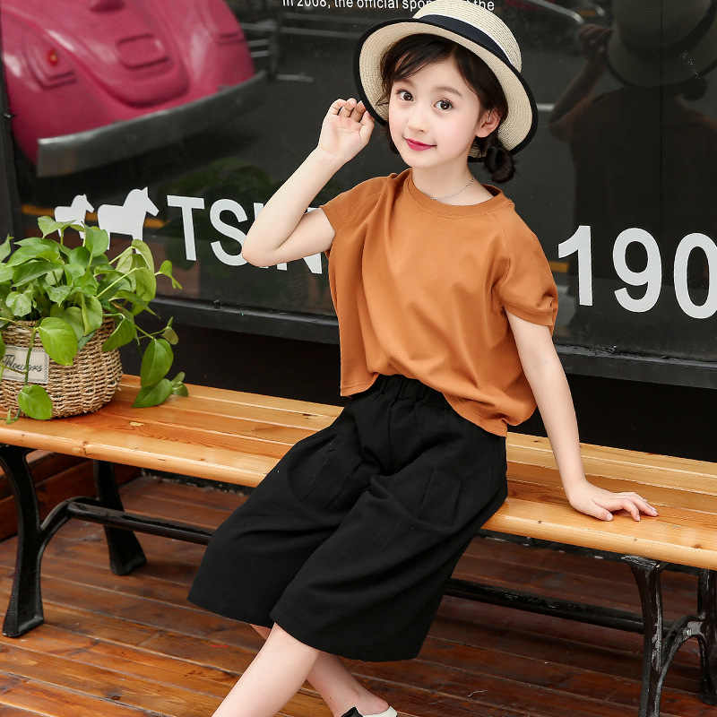 a787e9f39f894 ZSIIBO urban girl children's clothing summer 2019 girls children bat sleeve  wide leg pants two-piece spring girl clothes lady