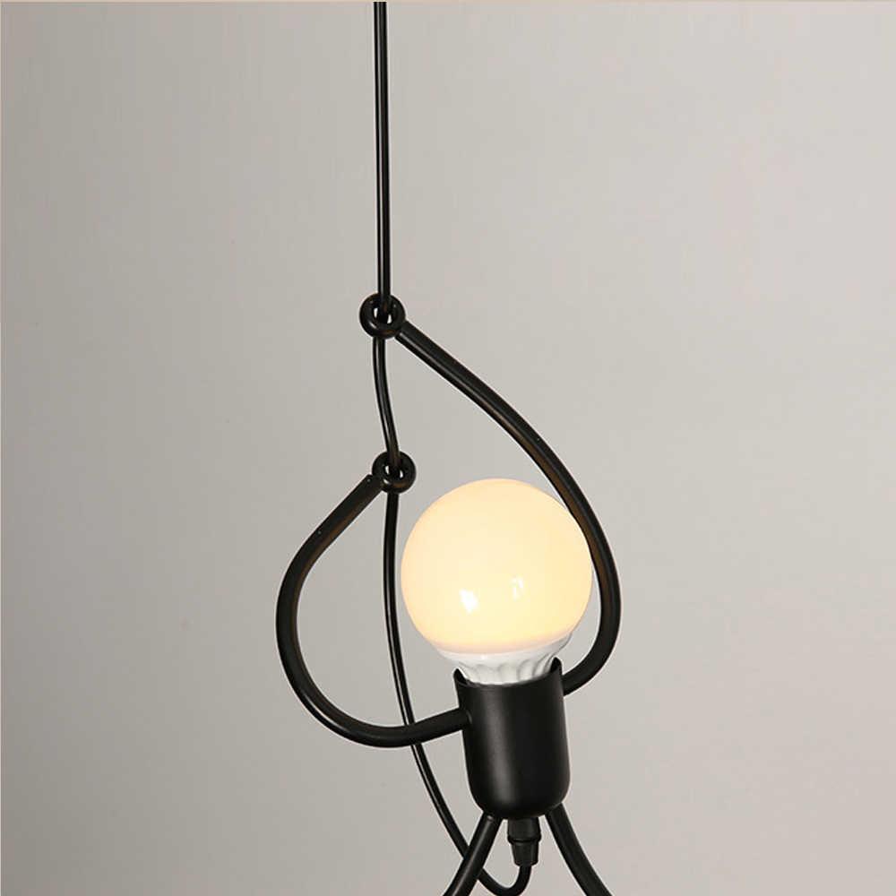 Креативный маленький человек альпинистская Подвесная лампа для детской комнаты подвесной светильник металлический шнур подвесные лампы художественное украшение Подвесные Светильники
