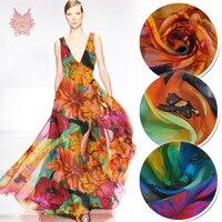 Oranje blauw groen bloemenprint 100% natuurlijke zijde chiffon stof voor strand jurk pure zijde tissu tecidos stoffen doek 6mm SP5000