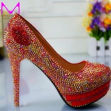 Newest High Heels Bridesmaid Bridal Shoes Rhinestones Red Lady Shoes for Wedding Party Ball Prom Pageant Event