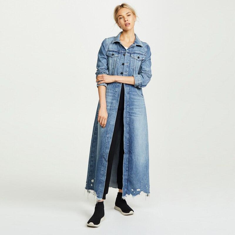 Haute Qualité 2018 Hiver Nouvelle Arrivée De Luxe Marque Femme Bleu Denim Long Manteau Gland Cru Effiloché Trou Denim Longue Tranchée