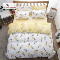 SlowDream Comforter Bedding Sets Pineapple Pattern Decorative Bedroom Nordic Bedclothes Home Textiles Flat Sheet Pillowcases Set