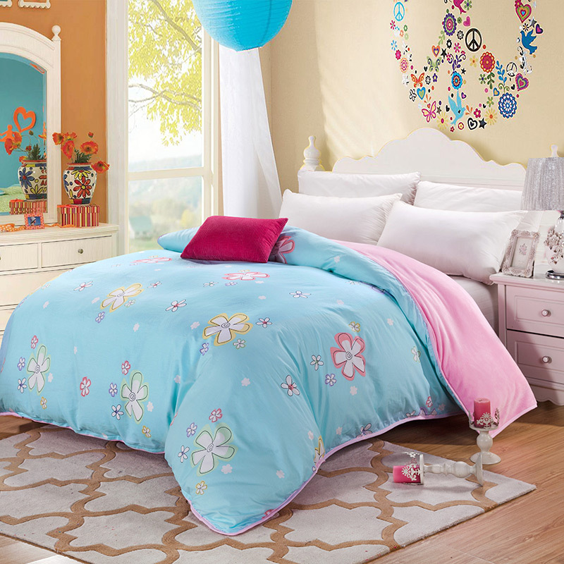 AB side bedding duvet cover Flannel Fleece + 100% cotton single Comforter cover 1pc printed quilt cover winter bedcover blanket