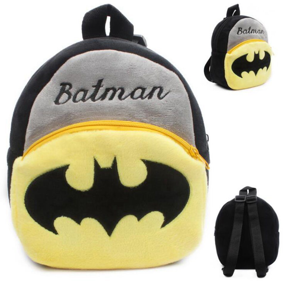 Cartoon Kids Plush Backpacks Mini School Bag Boy Schoolbag Batman Convenient Cute Soft Baby Bags