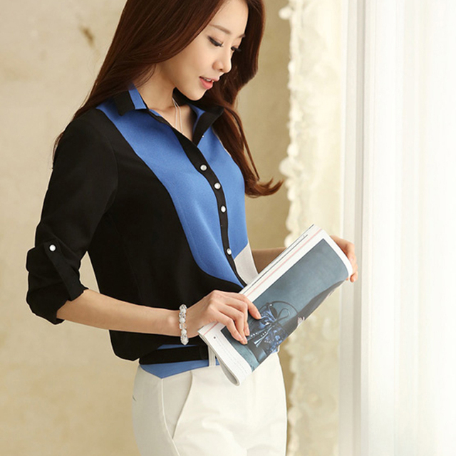 2015 Spring Summer Autumn Lady Chiffon Shirt Women Polo Shirt Blouses Casual Long Sleeve Basic Shirt