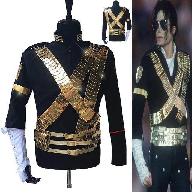 Rare MJ Michael Jackson Clássico Traje JAM Jacket & Conjunto Completo de Metal Bala Punk Exatamente O Mesmo de Alta Coleção Halloween Mostrar presente
