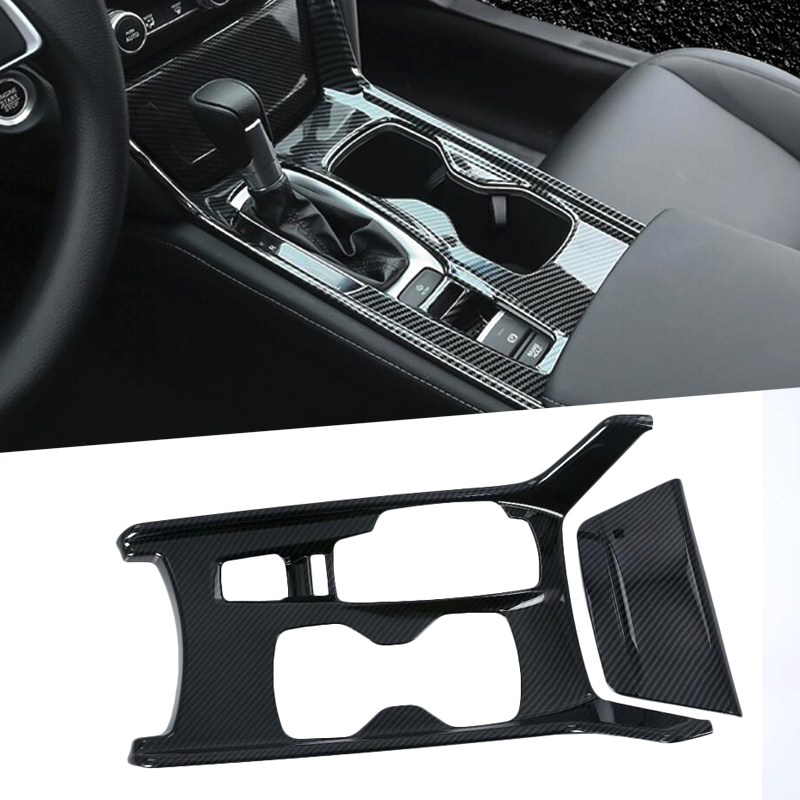 For 10th Honda Accord 2017 2018 Accessories Carbon Fiber Style Car Styling Inner Center Console Gear Shift Box Panel Cover Trim