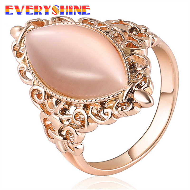 EVERYSHINE Female Oval Ring Fashion Rose gold & silver Gold Filled Jewelry Vintage Wedding Rings For Women Birthday Stone JR38