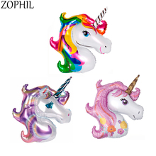 ZOPHIL 40x33cm Birthday Party Rainbow Unicorn Foil Balloon Baby Shower Kids Happy DIY Decoration Supplies Gender Reveal Children