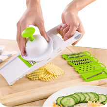7 in 1 Kunststoff Gemüse Obst Schneidemaschinen Cutter Verstellbare Edelstahl Klingen multifunktions ABS Peeler Grater Slicer KC1055