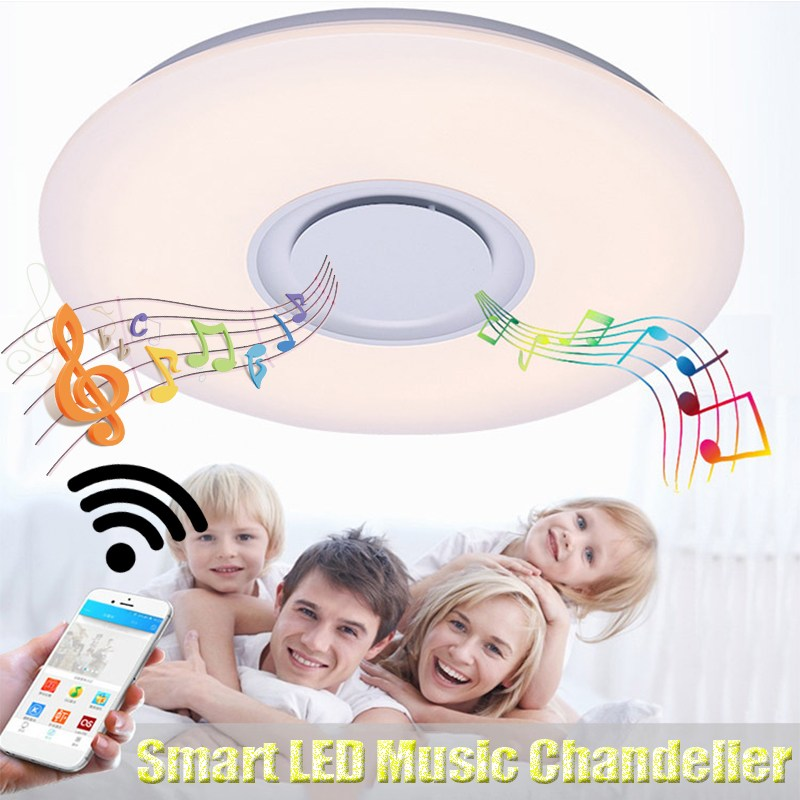 Smuxi Modern LED Ceiling Light RGB Dimmable 24W APP Control Bluetooth Music Ceiling Lamp For Living Room Bedroom 220V led ceiling light multi color and dimmable with bluetooth app and sound speaker for living room bedroom room