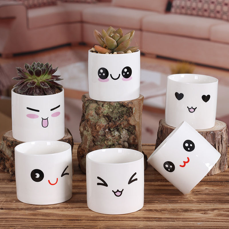 2 Pieces A Lot Hot Fashion Cute Face Doll Ceramic Pots In